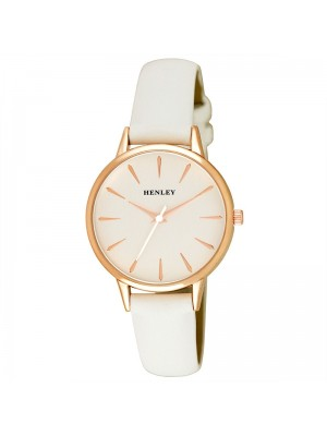 Wholesale Henley Ladies Tapered Index Leather Strap Watch - White