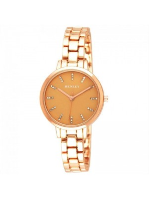 Wholesale Henley Ladies Triple Diamante Index Watch - Rose Gold