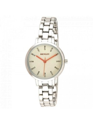 Wholesale Henley Ladies Triple Diamante Index Bracelet  Watch - Silver