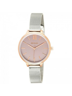Wholesale Henley Ladies Two-Tone Mesh Bracelet Watch - Grey/Gold