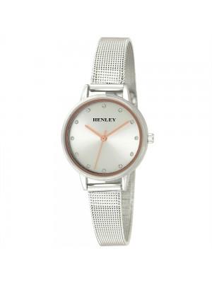 Henley Ladies Mesh Metal Bracelet Fashion Watch - Silver & Rose Gold