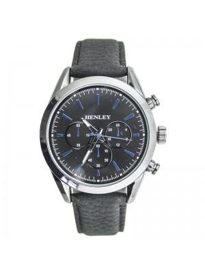 Henley Mens 3 Dial Design Fashion Watch - Black & Silver