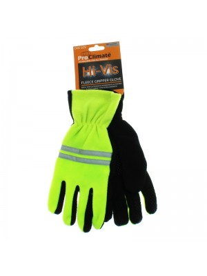 Hi-Vis Fleece Gripper Gloves (One Size)