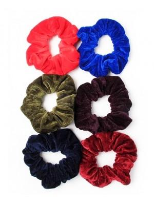 High Shine Velvet Hair Scrunchies - Assorted