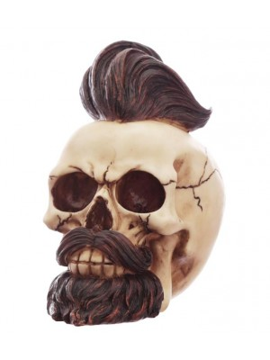 Wholesale Hipster Mohican Skull Ornament with Beard and Styled Hair