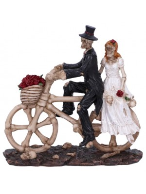 Hitch a Ride Bicycle Riding Skeleton Lovers Wedding Figurine - 14.5cm