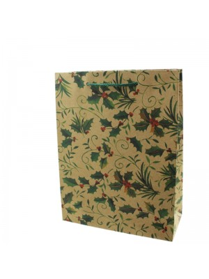 Holly Leaf Design Gift Bag - Medium (25cm x 19cm x 8cm)