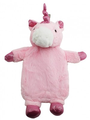 Hot Water Bottle with Plush Cover - Pink