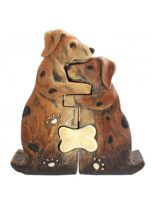 Hugging Dog Couple Figurine Set