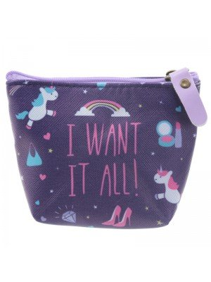 I WANT IT ALL! Coin Purse - Unicorn Print
