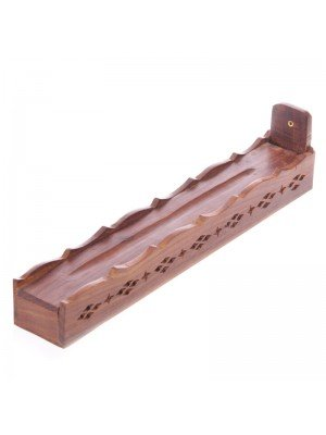 Wood Incense Stick Box with Fretwork & Carved Lid