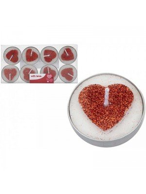 Heart Glitter Tealights - 8 Candles