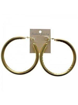 Gold Hoop Earrings Design 3 - 9cm