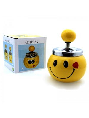 Wholesale Smiley Face Ceramic Press Rotary Spinning Ashtray