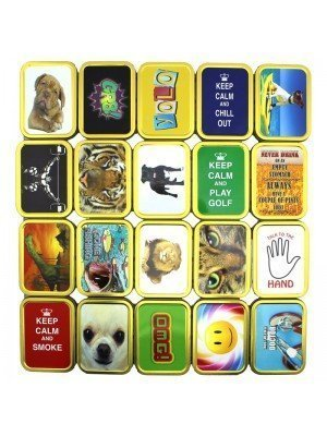 Wholesale Tobacco Tin with Rubber Seal - 2oz - Assorted designs.