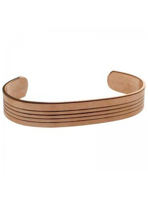 Copper 13mm Ribbed Bangle - Small