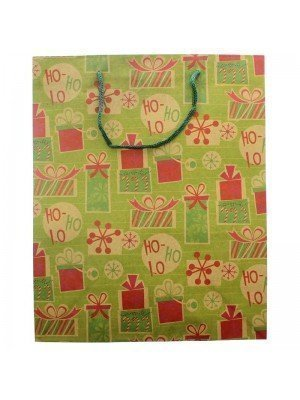 Green Kraft Paper Christmas Gift Bag