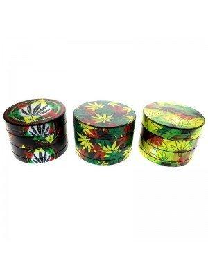 Sparkys 4-Part Metal Tobacco Grinder - Assorted Leaf Designs