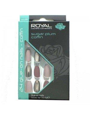 wholesale Royal Glue-On Nail Tips - sugar plum coffin (24 Nails)