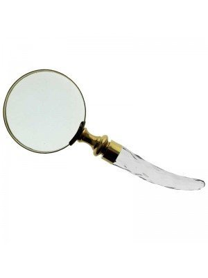 Gold Magnifying Glass with Transparent Handle - 20cm