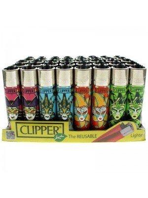 Clipper Reusable Lighter - Carnival Mask (Assorted Designs)