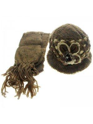 Ladies' Hat & Scarves Set (Flower Themed) - Assorted