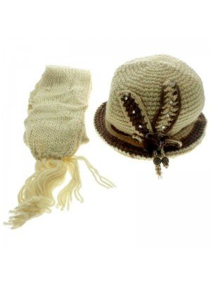 Ladies' Hat & Scarves Set (Flower Themed) - Assorted