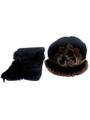 Ladies' Hat & Scarves Set (Floral Design) - Assorted Designs