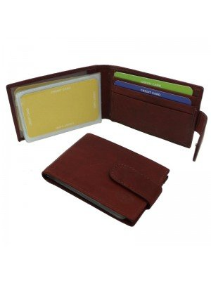 Wholesale Men's Florentino Leather Card Wallet With 16 Card Slots - Red & Brown
