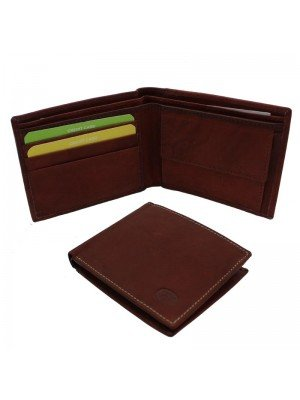 Wholesale Men's Florentino Leather Wallet With 5 Card Slots - Red & Brown