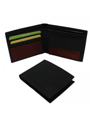 Wholesale Men's Florentino Leather Wallet With 5 Card Slots - Black & Red/Brown