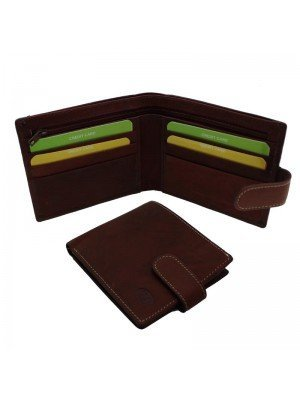 Wholesale Men's Florentino Leather Wallet With 8 Card Slots - Red & Brown