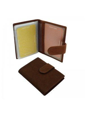 Wholesale Men's Florentino Leather Card Wallet With 15 Card Slots - Tan