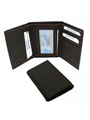 Wholesale Men's RFID Leather Wallet 9 Card Slots - Brown