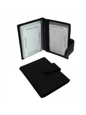 Wholesale Men's Florentino Leather Card Wallet With 13 Card Slots - Black
