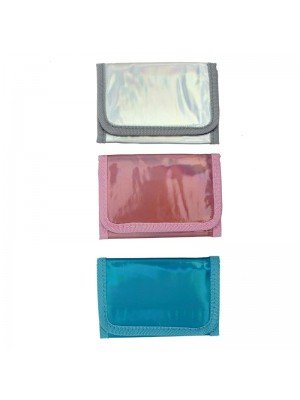 Wholesale Shiny Metallic Velcro Fabric Wallet - Assorted Colours