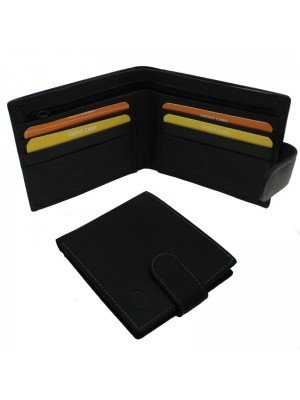 Wholesale Men's Florentino Leather Wallet With 9 Card Slots - Black