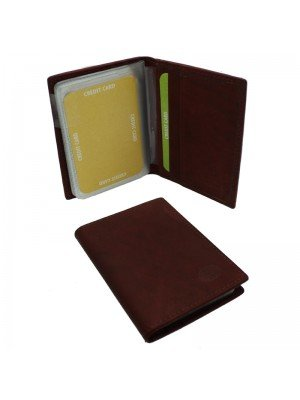 Wholesale Men's Florentino Leather Card Wallet With 18 Card Slots - Red & Brown