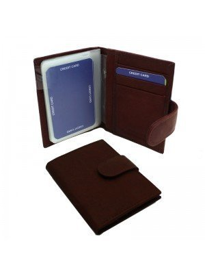 Wholesale Men's Florentino Leather Card Wallet with 21 Card Slots - Red & Brown