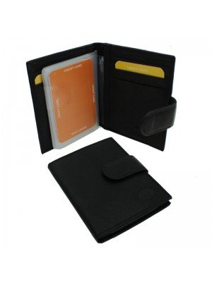 Wholesale Men's Florentino Leather Card Wallet With 21 Card Slots - Black