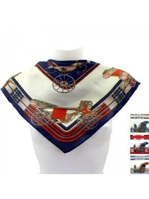Wholesale Ladies' Square Scarves - Royal Chariot Design (Assorted Colours)