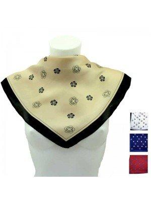Wholesale Ladies' Square Scarves - Flower Print Design (Assorted Colours)
