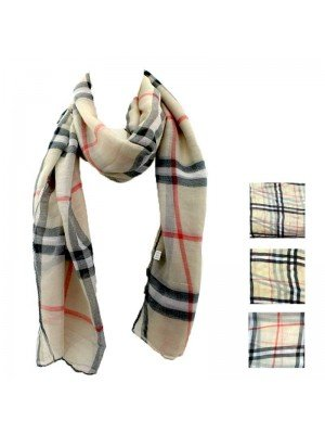 Wholesale Ladies' Viscose Tartan Striped Print Scarf - Assorted Colours