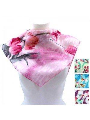 Wholesale Ladies' Square Scarves - Floral Design (Assorted Colours)