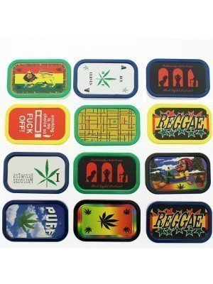 Plastic Tobacco Box  Rasta Theme & Sentences 1oz