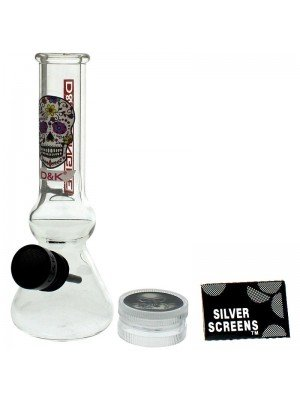 Wholesale D&K Dengke Glass Bong with 2-Part Plastic Grinder - Assorted Designs