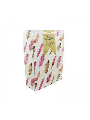 Wholesale Feather Design Gift Bag Assortment - Small (18cm x 8cm x 24cm)