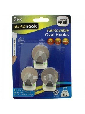 stickahook Self Adhesive Removable Oval Hooks - Metal