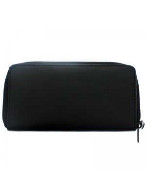 Wholesale Ladies Genuine Leather Zippable Purse - Black