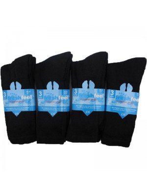 Wholesale Men's Fresh Feel Authentic Sports Socks - Black